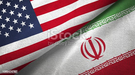 Iran and United States flags together realtions textile cloth fabric texture