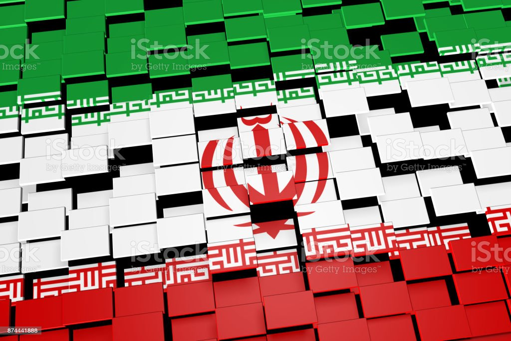 Iran country flag background formed from digital mosaic tiles, 3D rendering stock photo