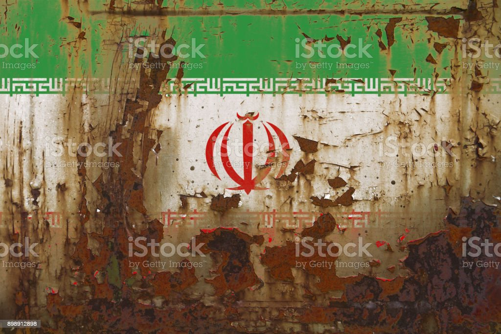 Iran Flag on a Dirty Rusty Grunge Metallic Surface stock photo