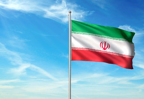 Iran flag on flagpole waving cloudy sky background realistic 3d illustration with copy space