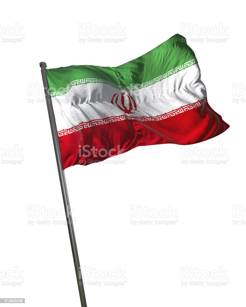 Iran Flag Waving Isolated on White Background Portrait stock photo