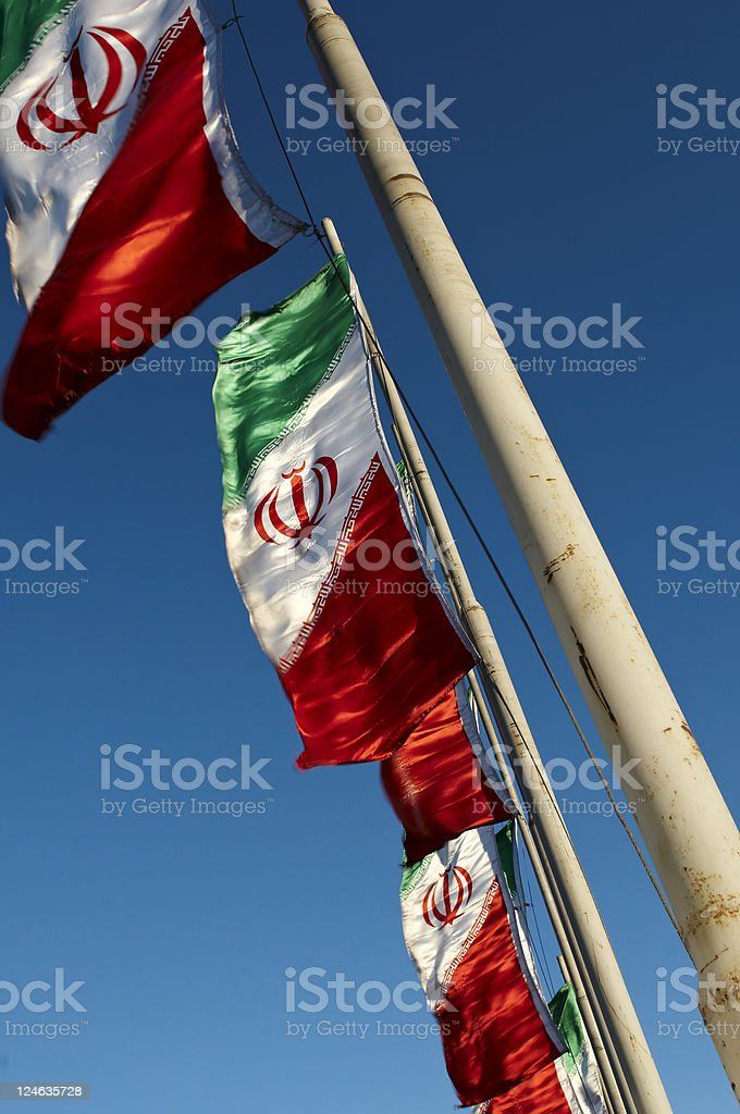 Iran Flags stock photo