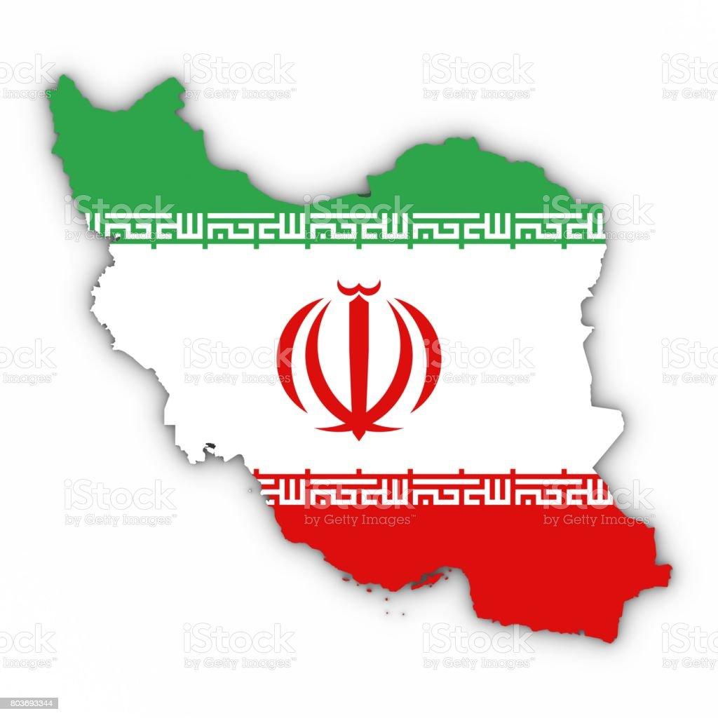 Iran Map Outline with Iranian Flag on White with Shadows 3D Illustration stock photo