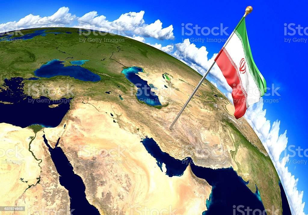 Image of: Iran National Flag Marking The Country Location On World Map Stock Photo Download Image Now Istock
