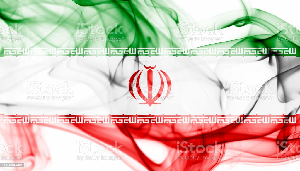 Iran national smoke flag stock photo