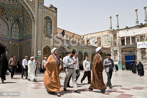 Qom- Iran. -may 14,2013: Mullahs in Fatima Masumeh shrine.