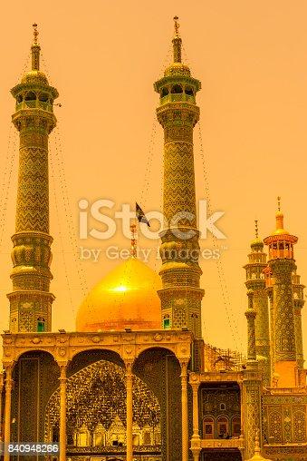Iran, Qom City, Hazrat-e Masumeh, Holy Shrine at sunset