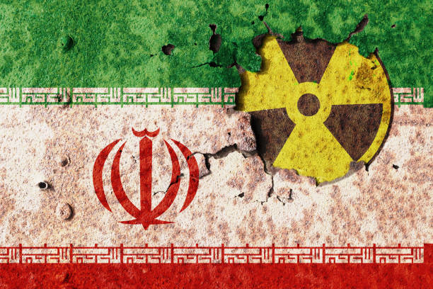 Iran radiation Iran flag on metal wall. Conflict of atomic technology radioactive contamination stock pictures, royalty-free photos & images