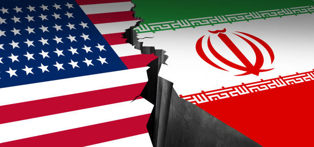 Iran US Showdown Iran US showdown and middle east clash as a USA or United States crisis in the Persian gulf concept as an American and Iranian security problem due to economic sanctions and nuclear deal as a 3D illustration. iran stock pictures, royalty-free photos & images