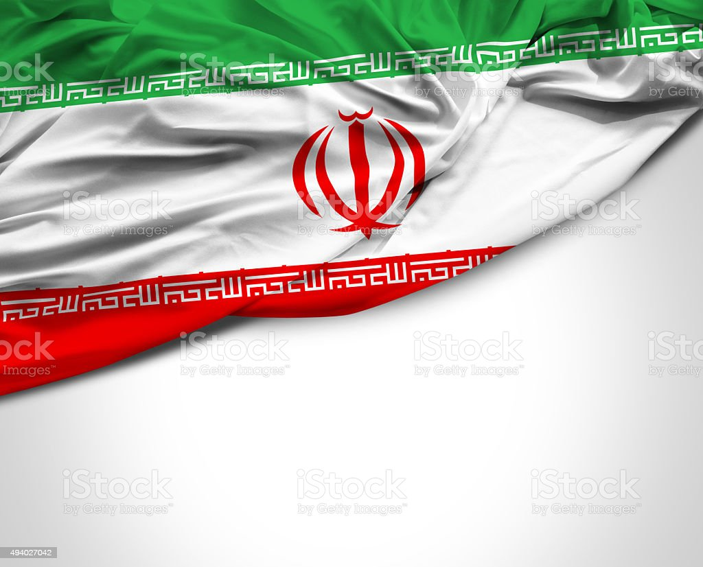 Iran waving flag on white background stock photo