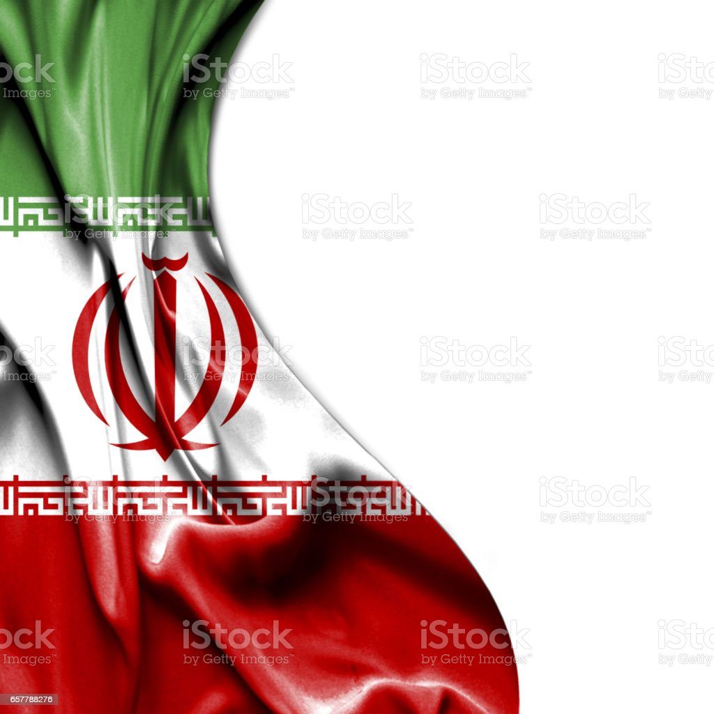 Iran waving satin flag isolated on white background stock photo
