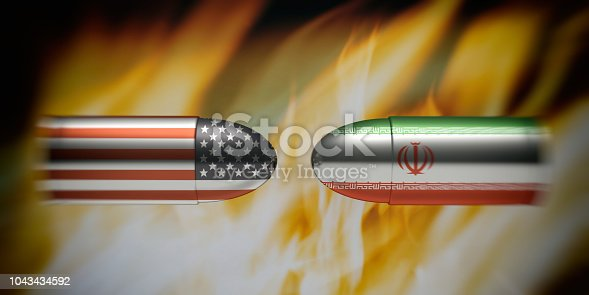 istock Iranian and American flags on bullets, fire flames background. 3d illustration 1043434592