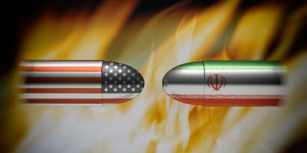 iranian and american flags on bullets, fire flames background. 3d illustration - grecia stato foto e immagini stock