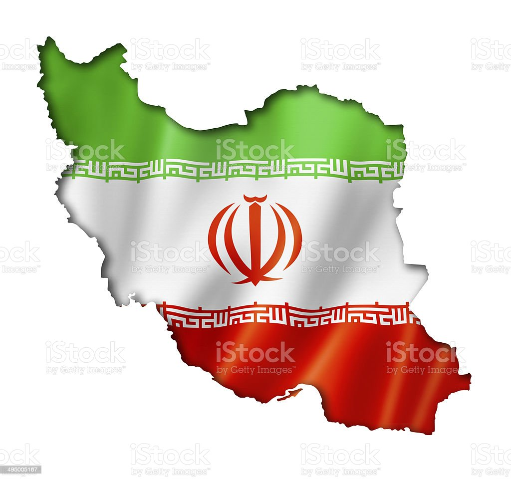 Iranian flag map stock photo