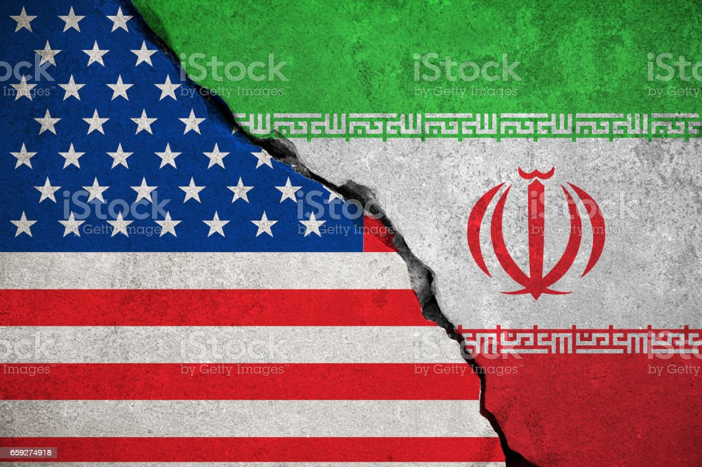iranian flag on broken wall and half usa united states of america flag stock photo