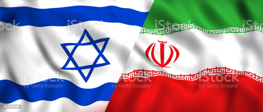 Iranian Flag Vs Israeli Flag Symbol Of Nations Israel And Iran Stock