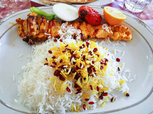 Iranian grilled chicken and tomatoes served on rice Iranian grilled chicken and tomatoes served on rice in white ceramic plate persian culture stock pictures, royalty-free photos & images