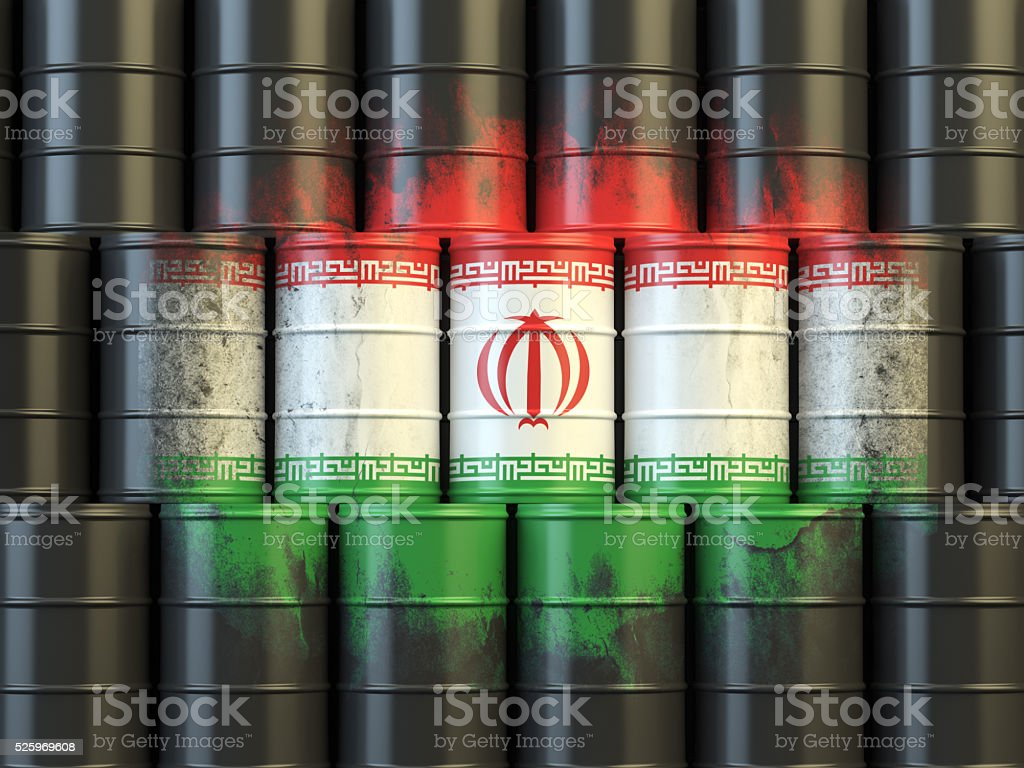 Iranian oil fuel energy concept. Flag of Iran on barrels stock photo