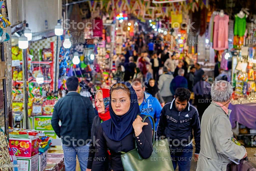 Iranian woman in a big bazaar, Tehran, Iran. stock photo