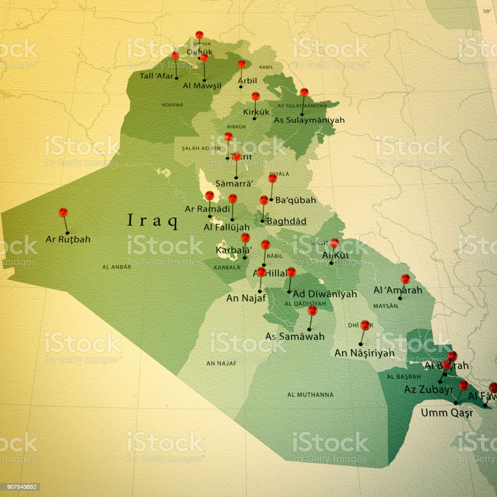 Iraq Map Square Cities Straight Pin Vintage Stock Photo & More ...