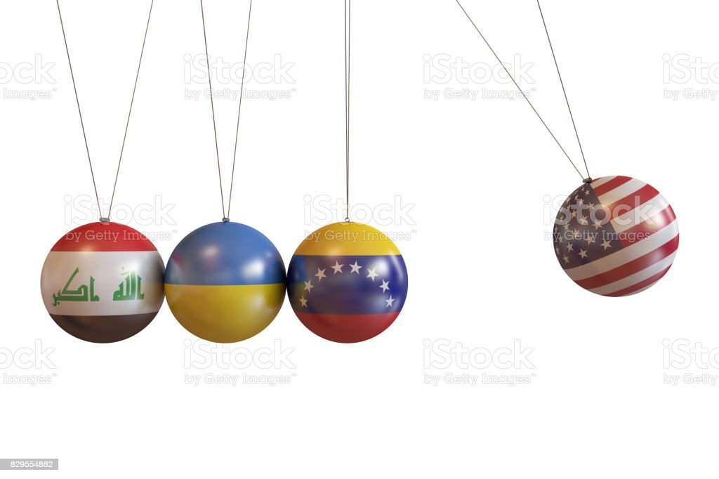 Iraq, Ukraine, Venezuela, Usa Countries Pendulum stock photo