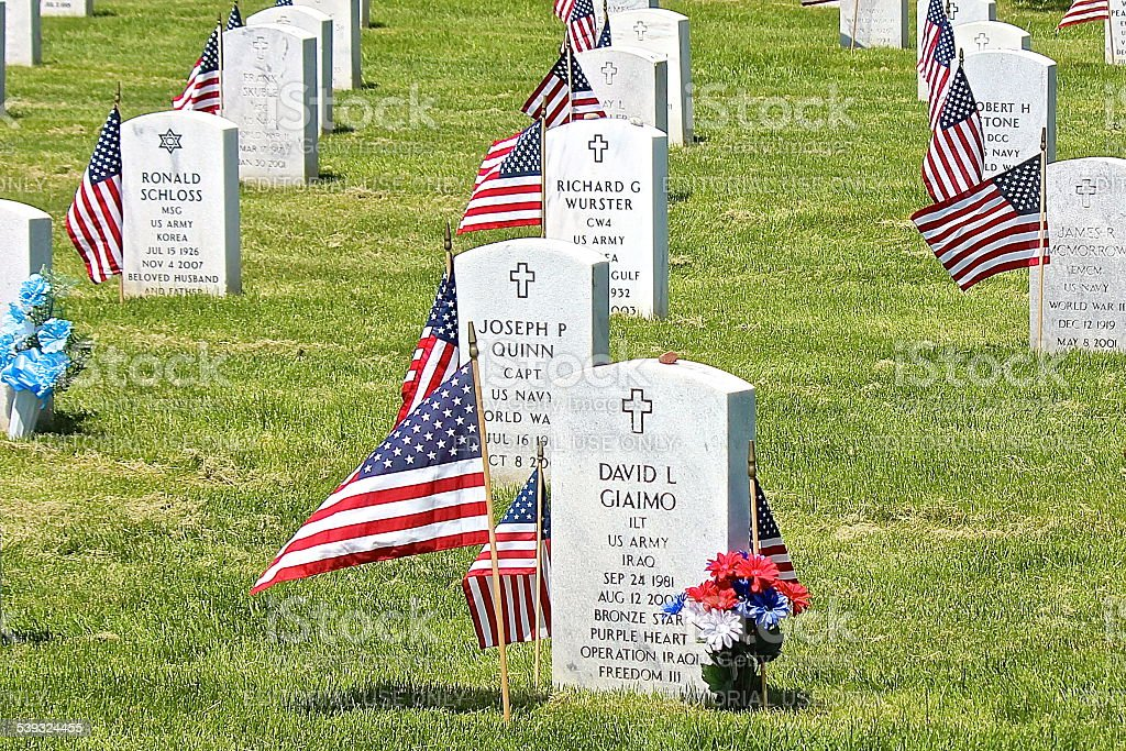 Iraq War Army Soldier tombstone at Military Cemetery, Memorial Day stock photo