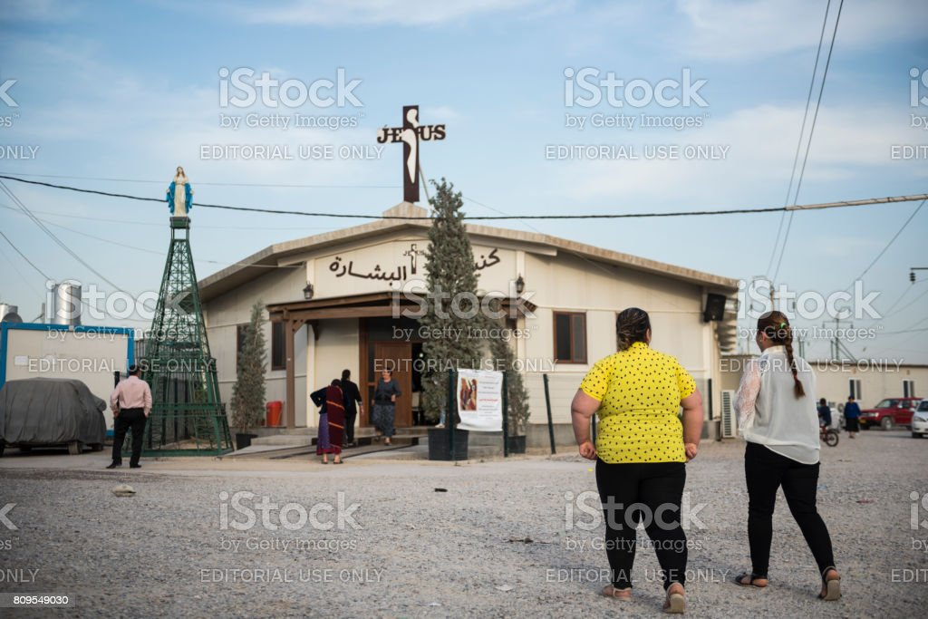 Iraqi Christians at IDP camp in Ankawa, Iraq stock photo
