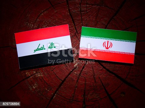 Iraqi flag with Iranian flag on a tree stump isolated