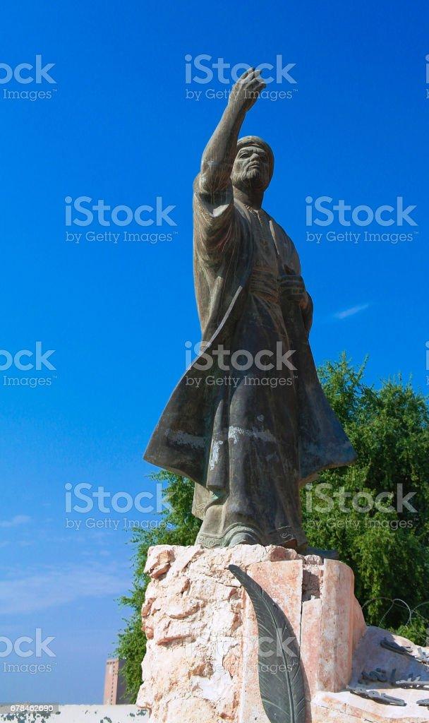 Iraqi poet Al-Mutanabbi Statue at the end of Mutanabbi Street, Baghdad, Iraq stock photo