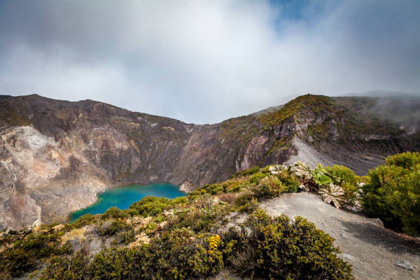 irazu volcano crater lake, costa rica stock photo