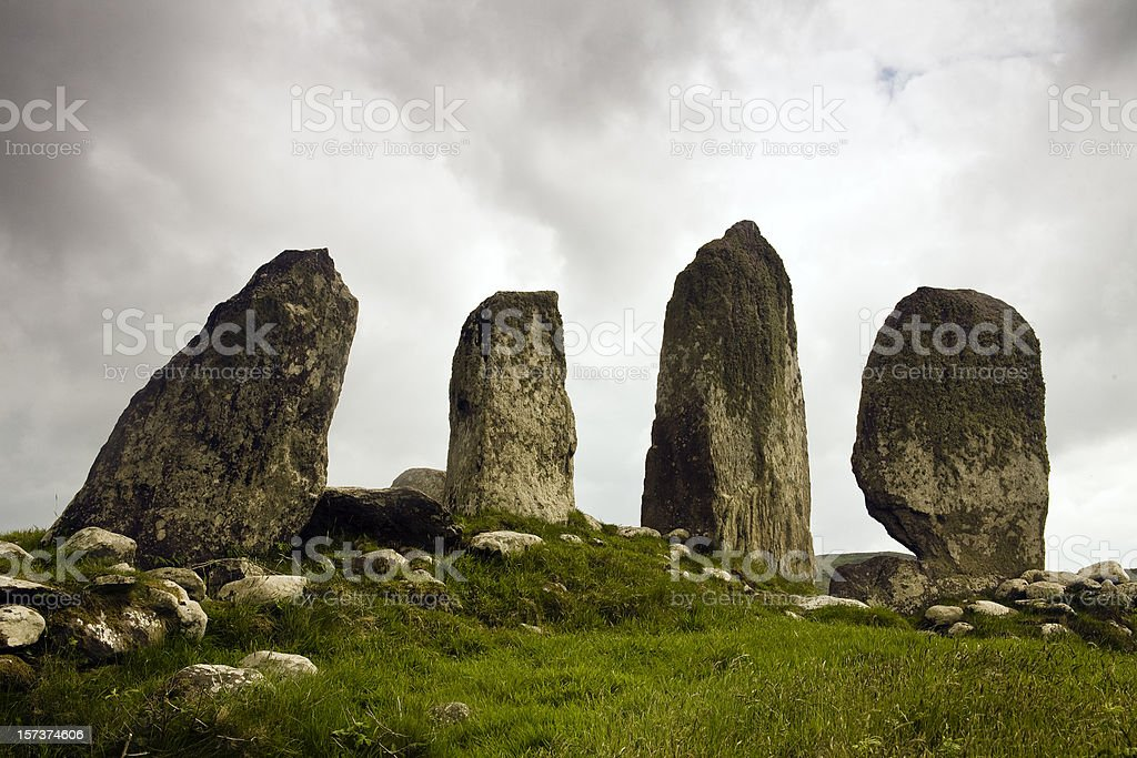 Ireland: Ancient Standing Stones, Ring of Kerry stock photo