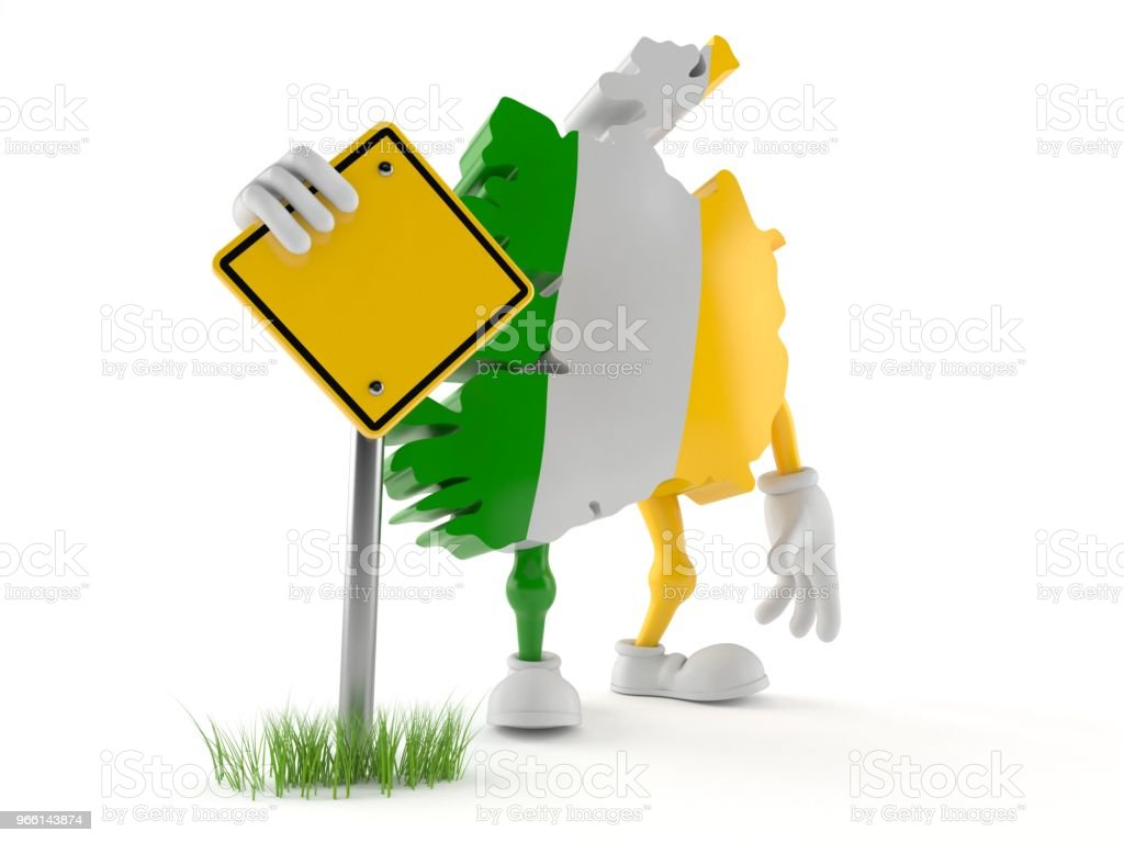 Ireland character with blank road sign - Royalty-free Blank Stock Photo