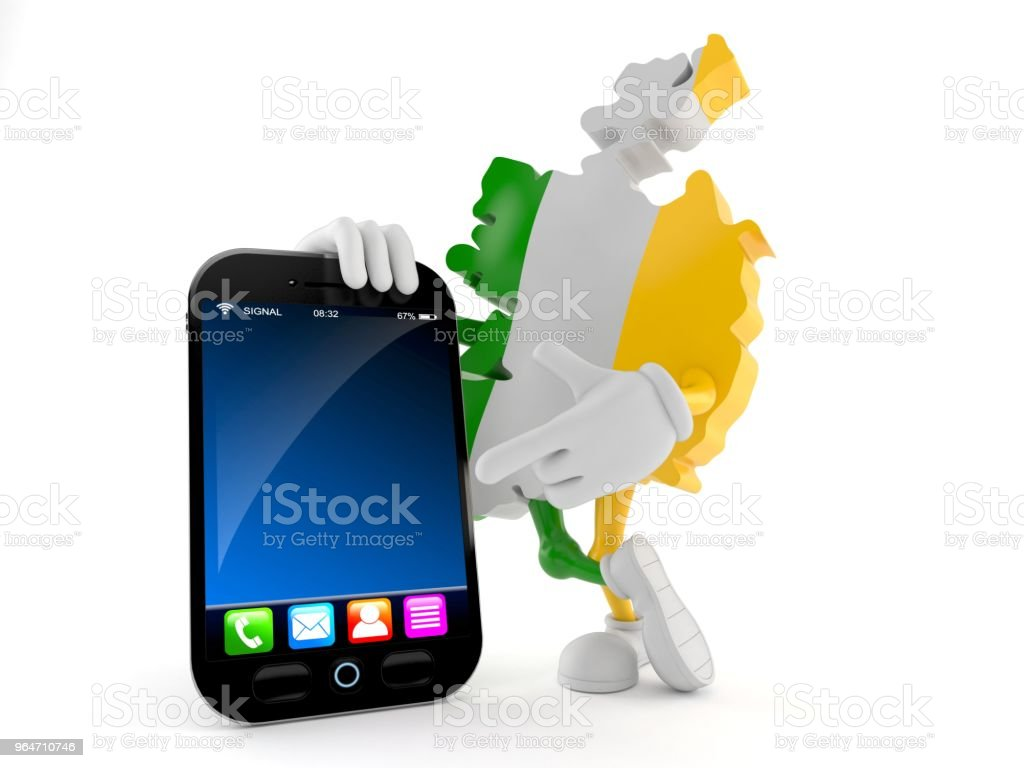 Ireland character with smartphone royalty-free stock photo