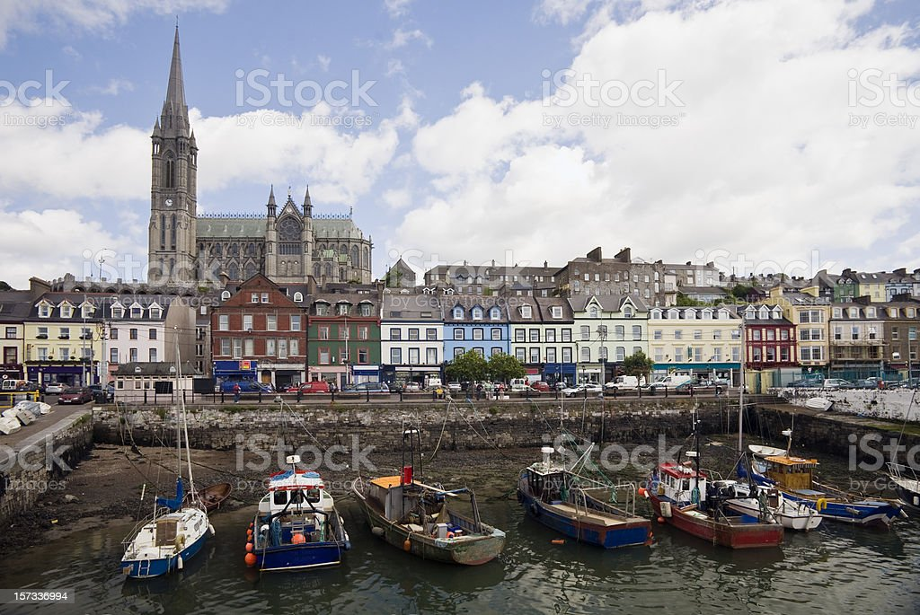 Ireland:  Cobh Harbor and Cathedral, County Cork stock photo