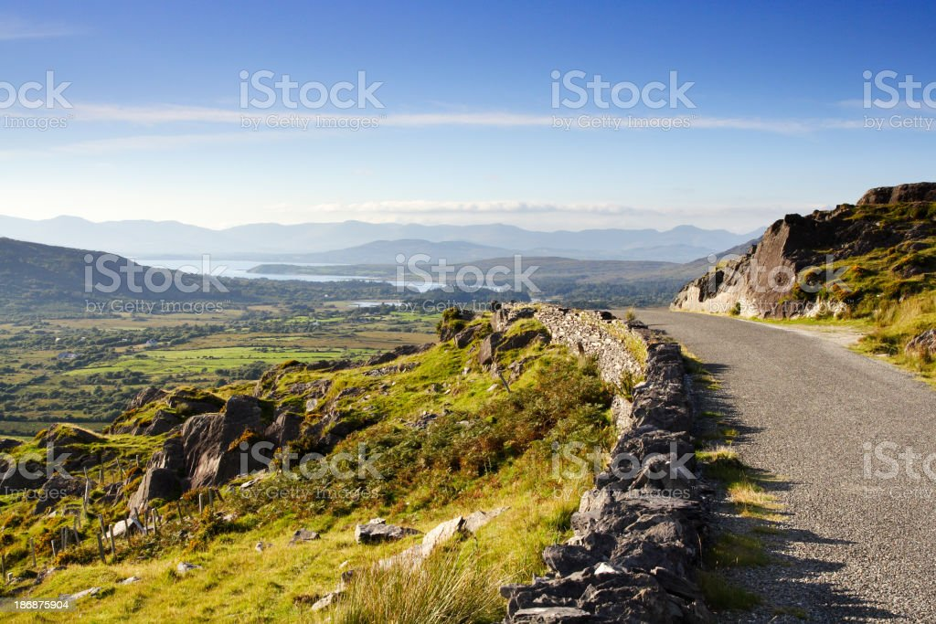 Ireland country road, on a blue sky day  stock photo