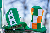 Ireland hats close-up, traditional holiday party, carnival of St. Patrick's Day