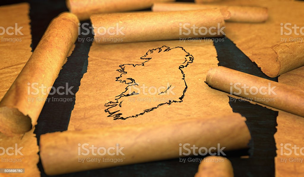 Ireland Map Drawing Unfolding Old Paper Scroll 3D stock photo