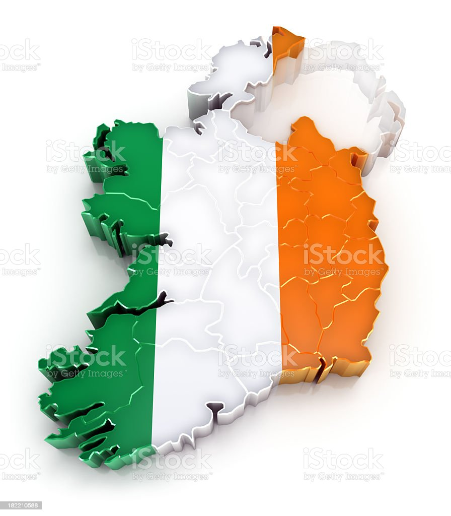 Ireland map with flag stock photo