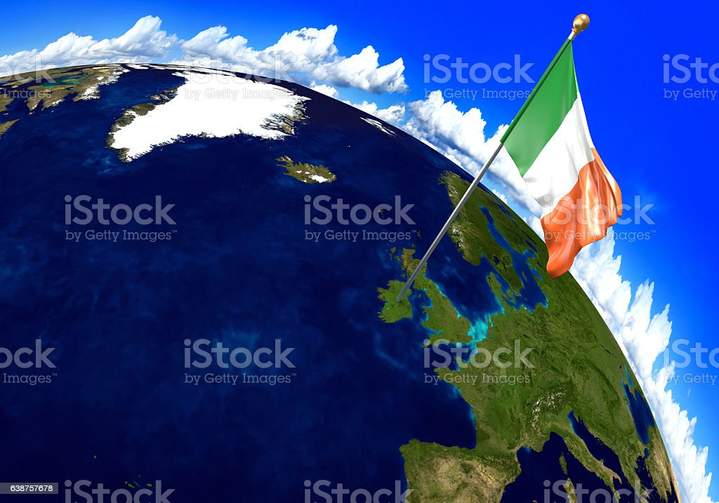 Ireland National Flag Marking The Country Location On World Map ...