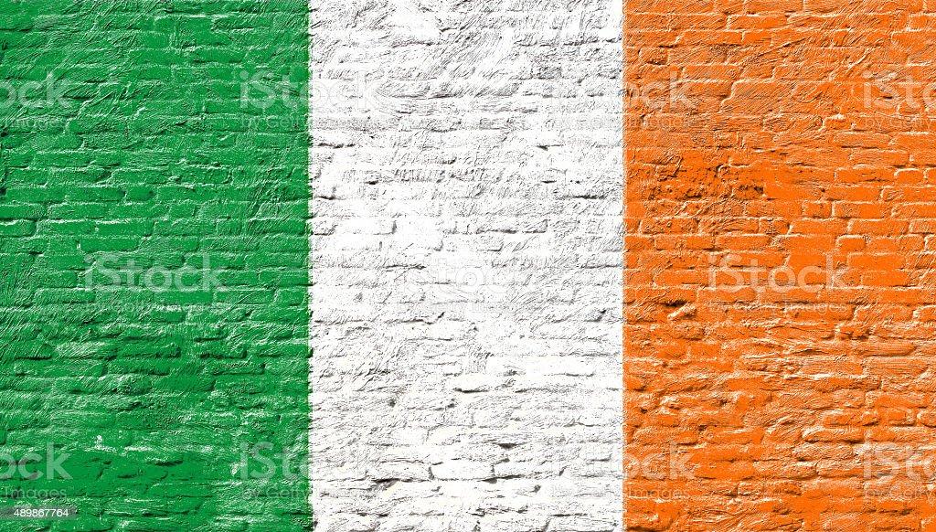 Ireland - National flag on Brick wall stock photo