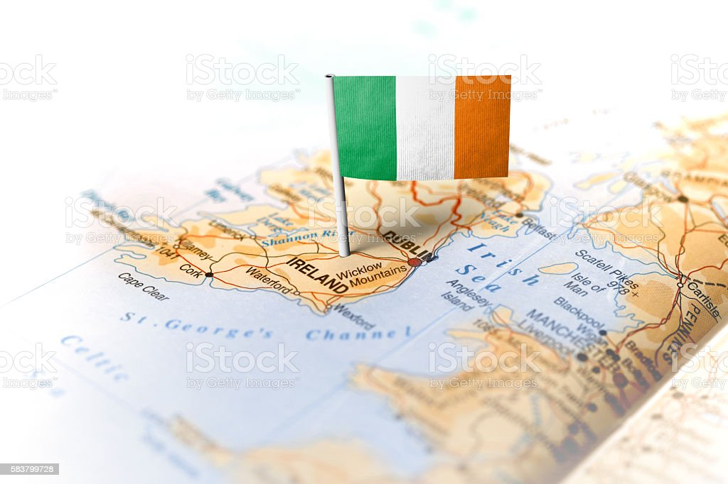 Ireland pinned on the map with flag stock photo