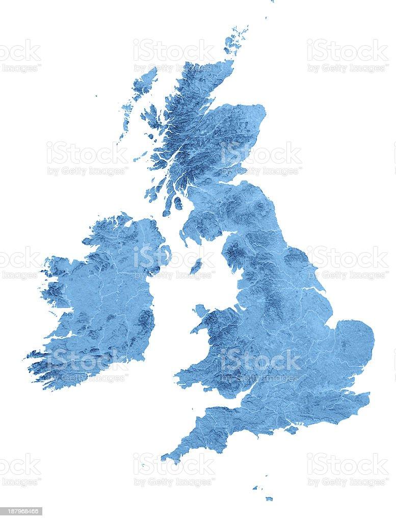 UK Irland Topographic Karte Isoliert – Foto