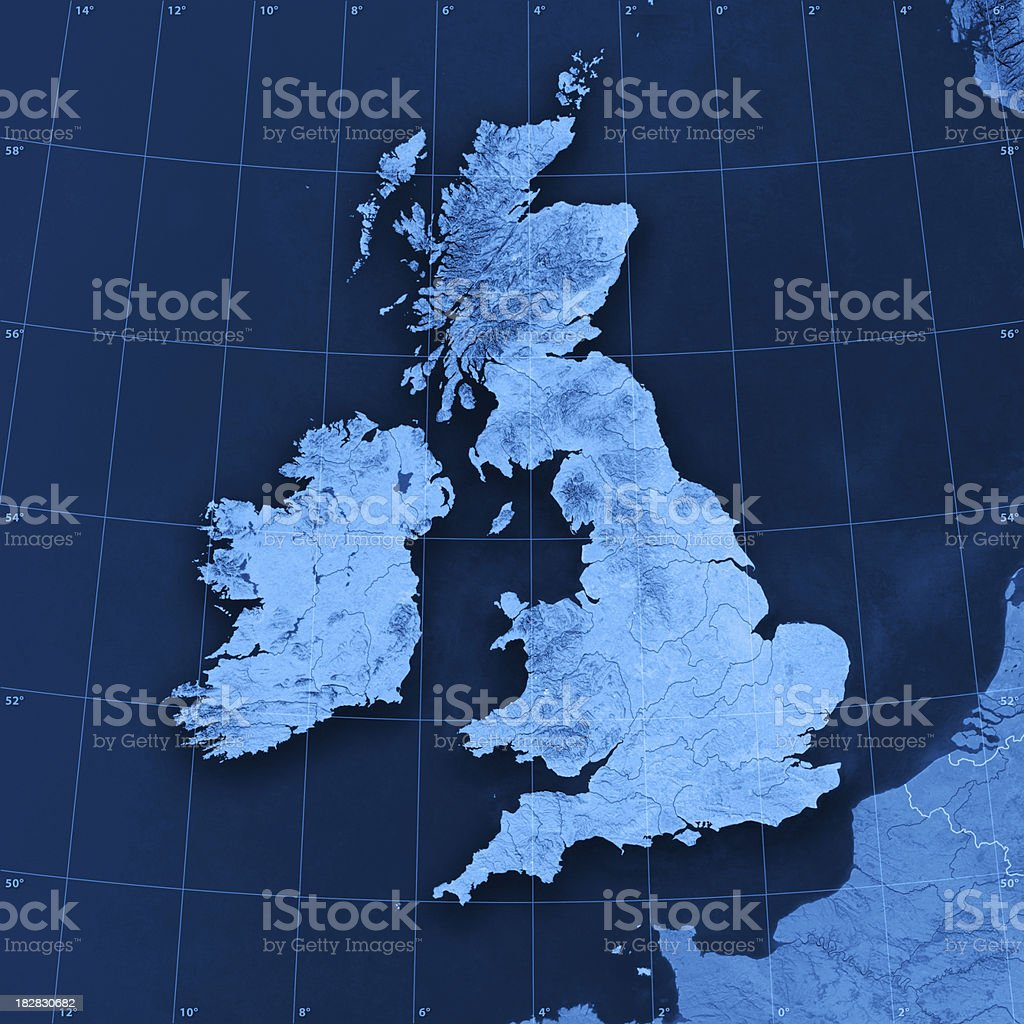 UK Ireland Topographic Map royalty-free stock photo