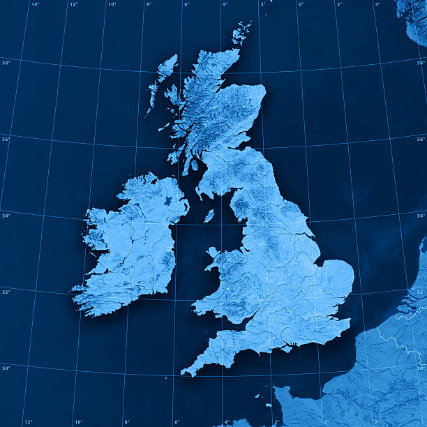 uk ireland topographic map - english channel stock pictures, royalty-free photos & images