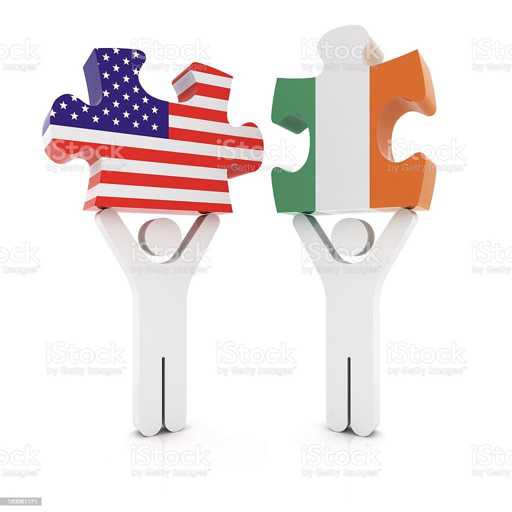 Ireland USA Puzzle Concept royalty-free stock photo