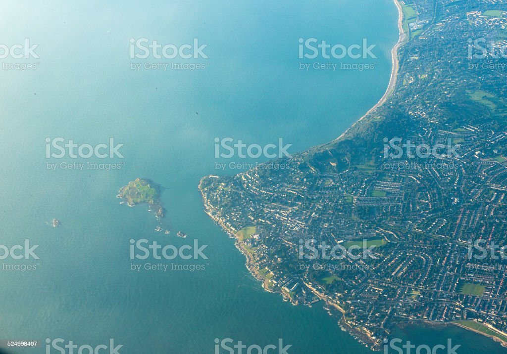 ireland's Eye from the air. stock photo