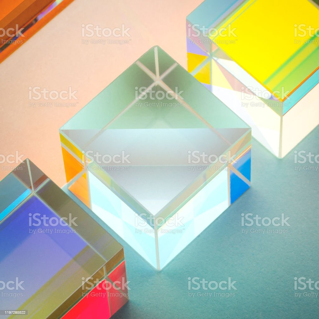 iridescent multicolored glass square prisms close-up iridescent multicolored glass square prisms close-up, abstraction Abstract Stock Photo