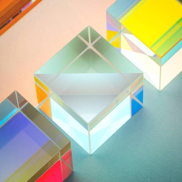 iridescent multicolored glass square prisms close-up