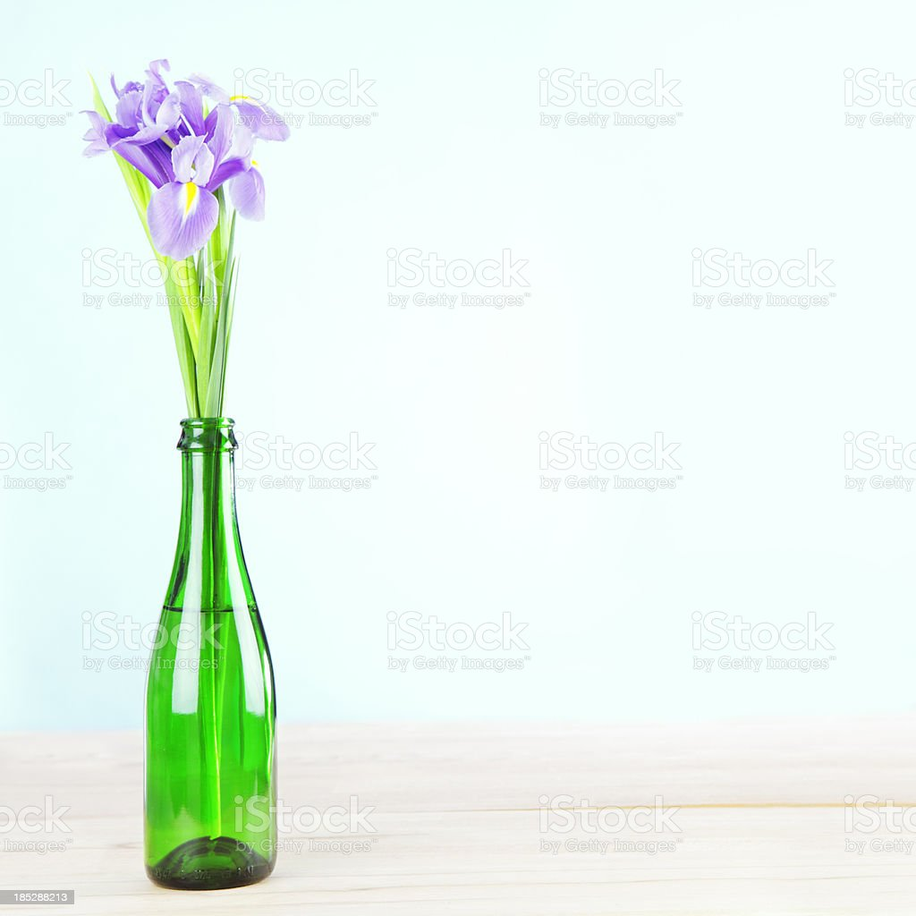 Iris Flowers In Cheap Impromptu Vase Stock Photo More Pictures Of