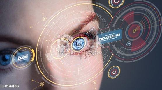 872707982 istock photo Iris recognition concept. 913641666